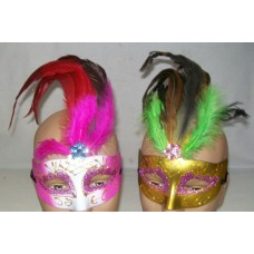 DECORATED MASKS WITH FEATHERS