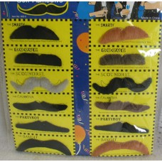 PARTY MUSTACHES 12 PCS ON CARD